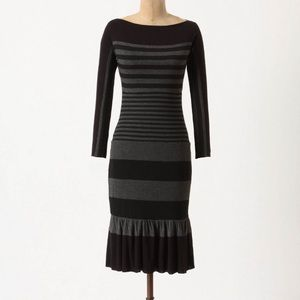 ANTHRO Bailey 44 Sorted Stripes Black Midi Dress